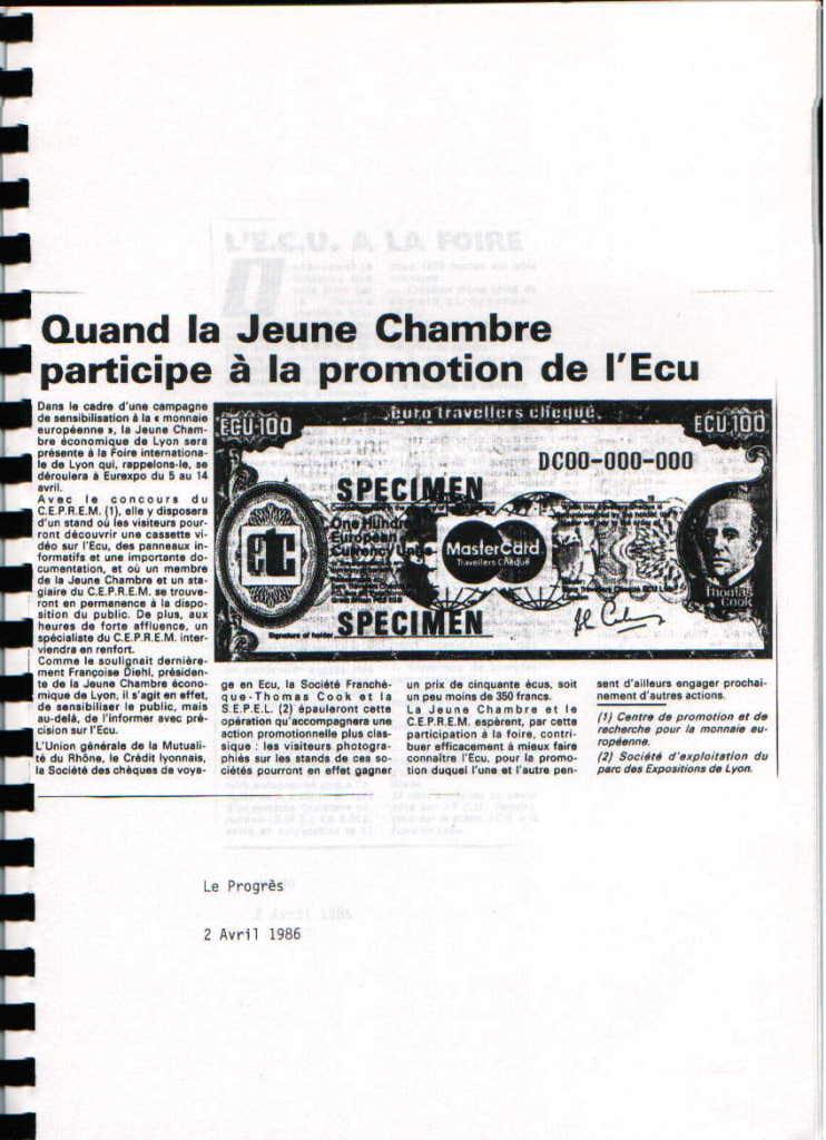Promotion de la monnaie européenne Ecu