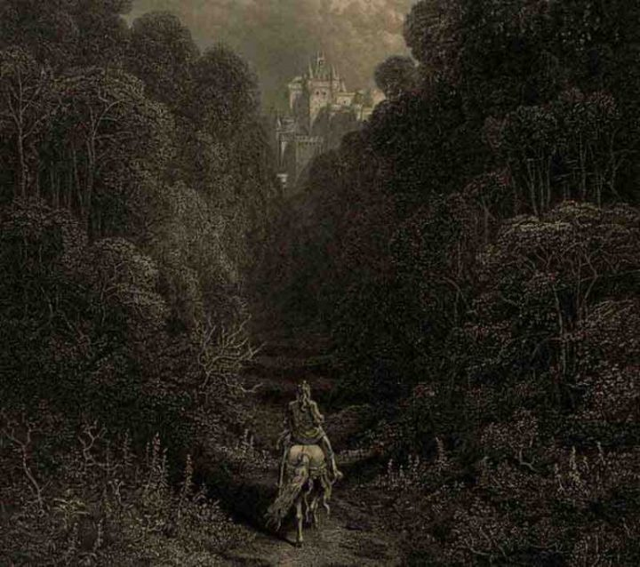 Approaching the Grail Castle (Gustave Doré, illustrator, Idylls of the King, engraving, England, 1877. Public domain)