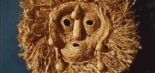 "Cornhusk mask of the Seneca (Iroquois) ""Bushyheads"" or Husk Face Society."