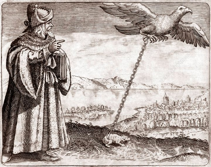 The Emblem of Avicenna: the eagle and the toad (also known as Ibn Sinna. From Daniel Stolcius, Viridarium Chymicum, Prague, 1624.)