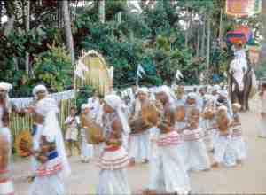 Festival procession in Kandy, Sri Lanka. (Photograph by Joseph Campbell, 1955. From <em>Asian Journals — India & Japan</em>, copyright © 2002 and 2018 by Joseph Campbell Foundation. All rights reserved.)