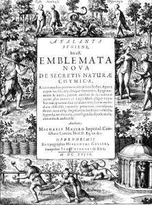 The frontispiece of <em>Atalanta Fugiens</em>, Michael Meier's 1618 treatise on alchemical symbols.