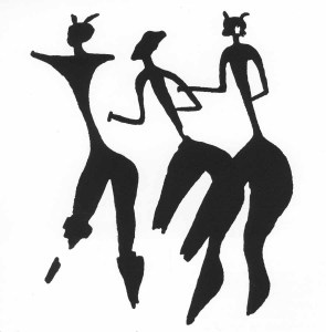 "Three women, from the Valltorta Gorge (From rock painting, Spain, c. 10,000 to c. 3000 <span style=""font-variant:small-caps"">b.c.</span>)"