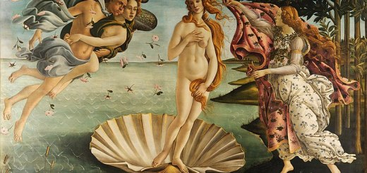 The Birth of Venus by Sandro Botticelli (tempura on canvas, Italy, circa 1485)
