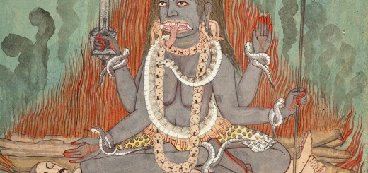 Kālī Astride Śiva and Śava (watercolor, India, c. 1740 a.d. Courtesy Los Angeles County Museum of Art)