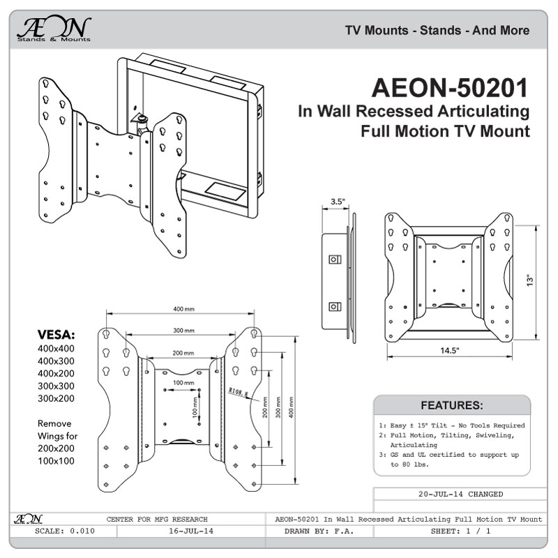 AEON-50201 Recessed In Wall TV Mount, Full Motion TV Wall