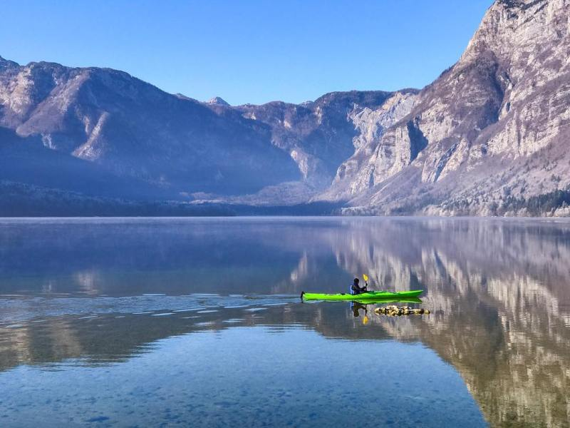 Throwback to Lake Bohinj in Slovenia  ShotOniPhone Kayak Reflectionhellip