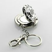 Pampered Poodle Purse Hanger Keychain with diamond top, flip open mirror