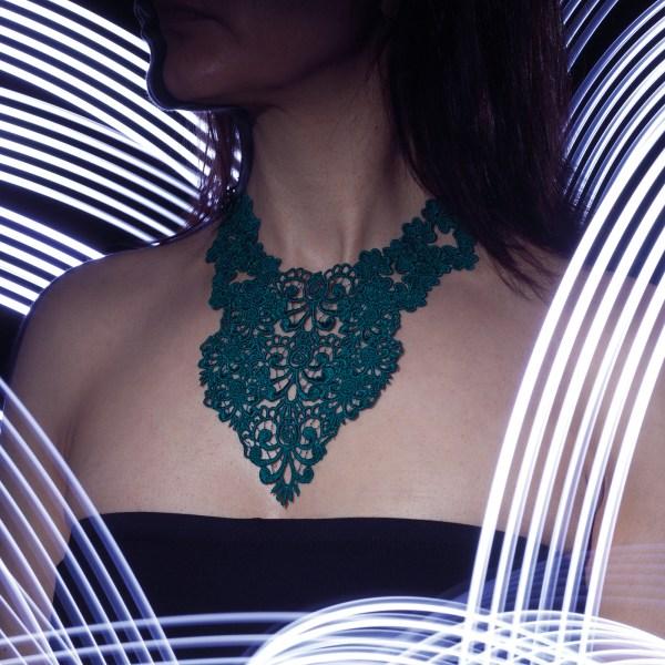 Trefoil lace necklace