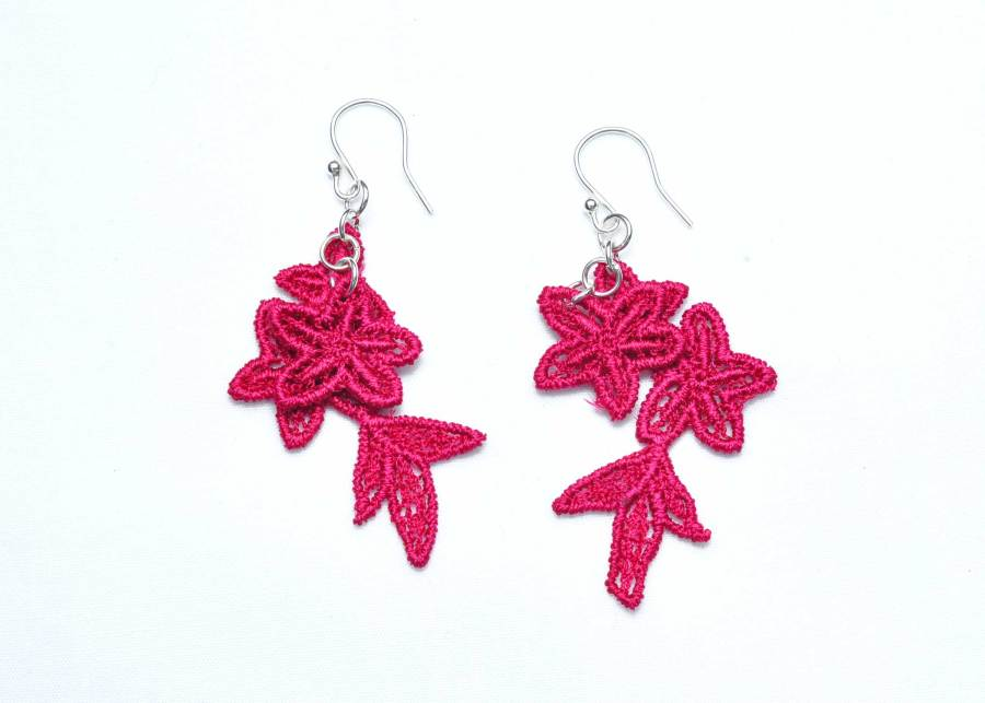 Jasper Lace Earring E8 Raspberry