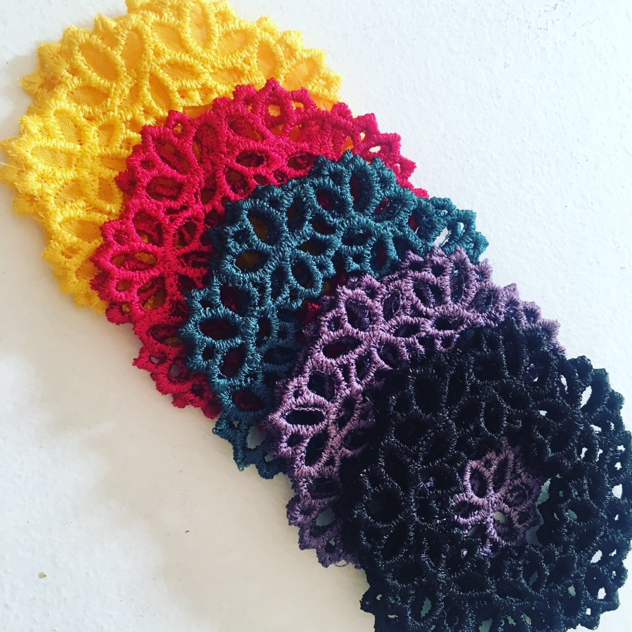 Lotus lace drop earrings in various colours