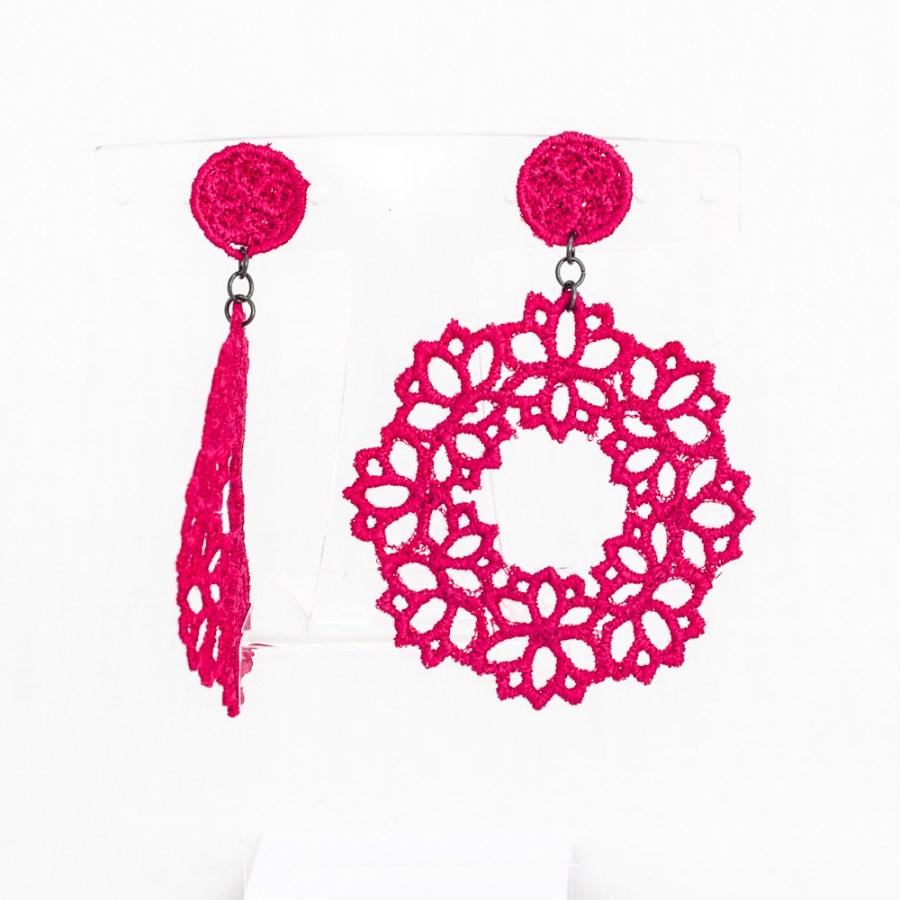 Lotus lace drop earrings in raspberry