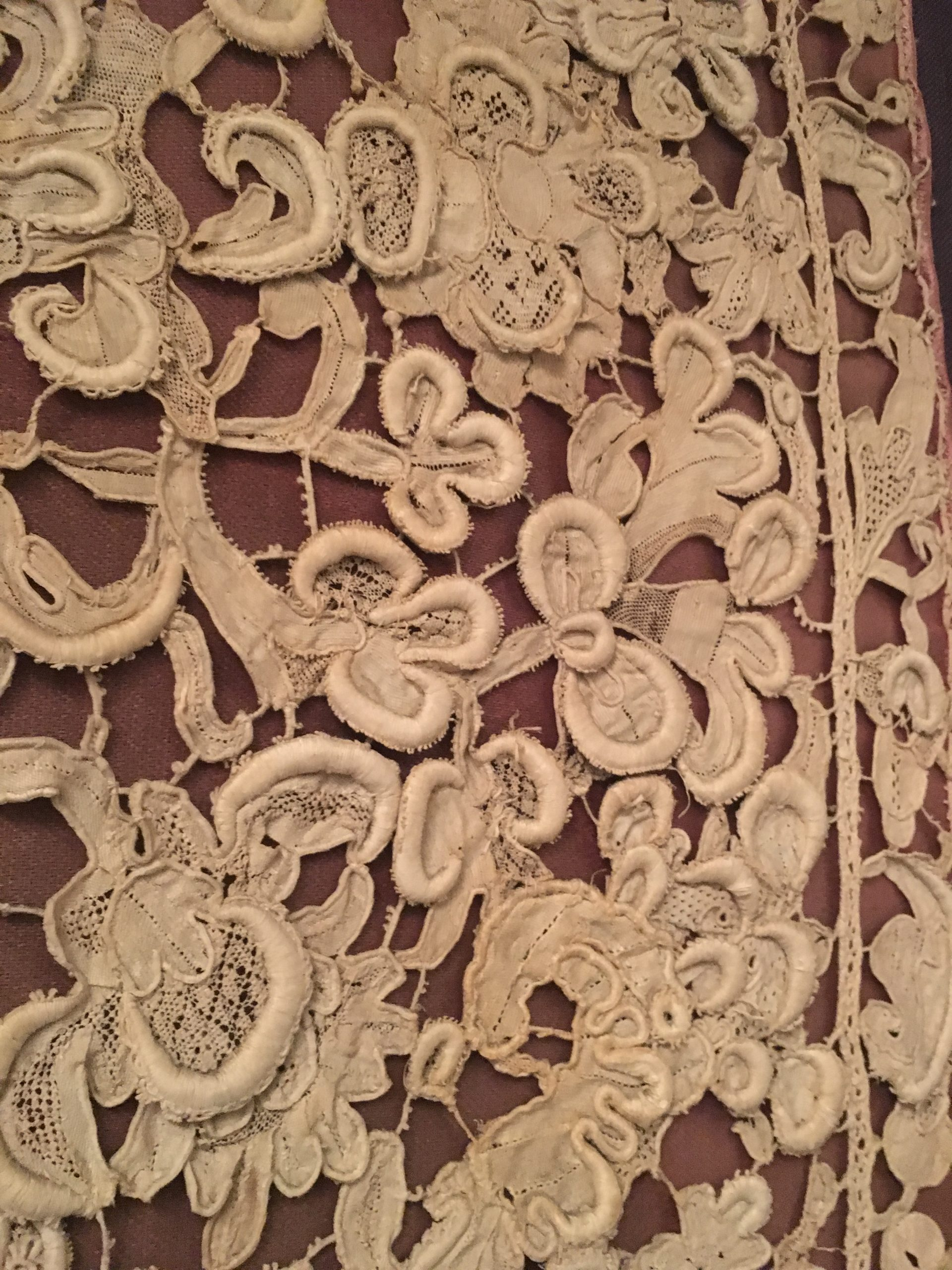 Close up of needle lace chasuble