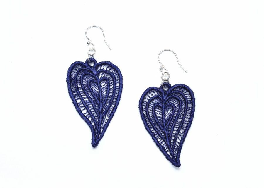 Moroccan Heart lace earrings in dark navy