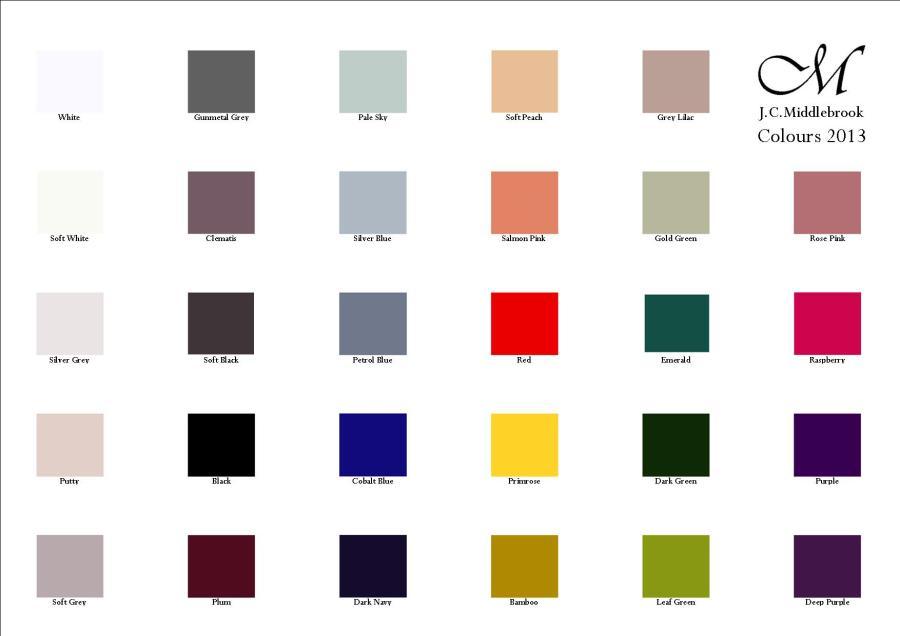 JCM colour chart