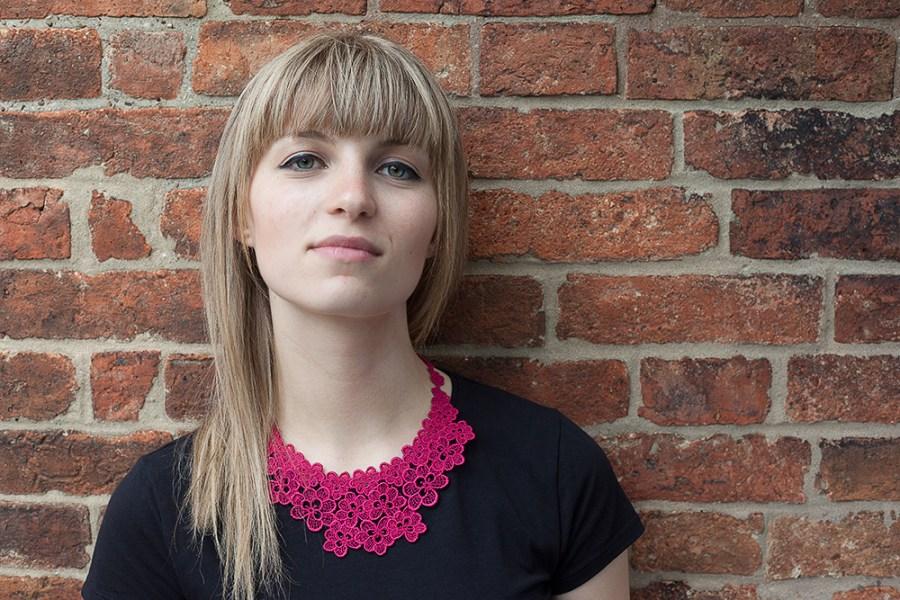 Oakleaf lace necklace on Radojka