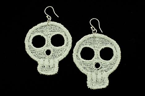Large white lace skull earrings