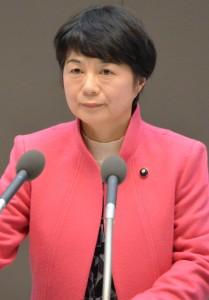 討論する河野ゆりえ都議=25日、東京都議会