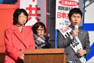 訴える山添参院選挙区候補(右)と里吉都議(左)ら=19日、JR渋谷駅ハチ公口(「しんぶん赤旗」提供)