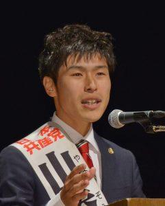訴える山添拓東京選挙区候補(「しんぶん赤旗」提供)