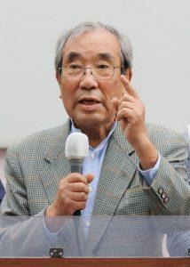 訴える二見伸明元公明党副委員長=28日、東京都文京区
