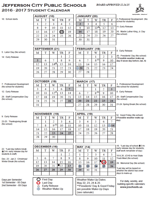 Yearly District Calendar (Printable) / 2016-17 Student