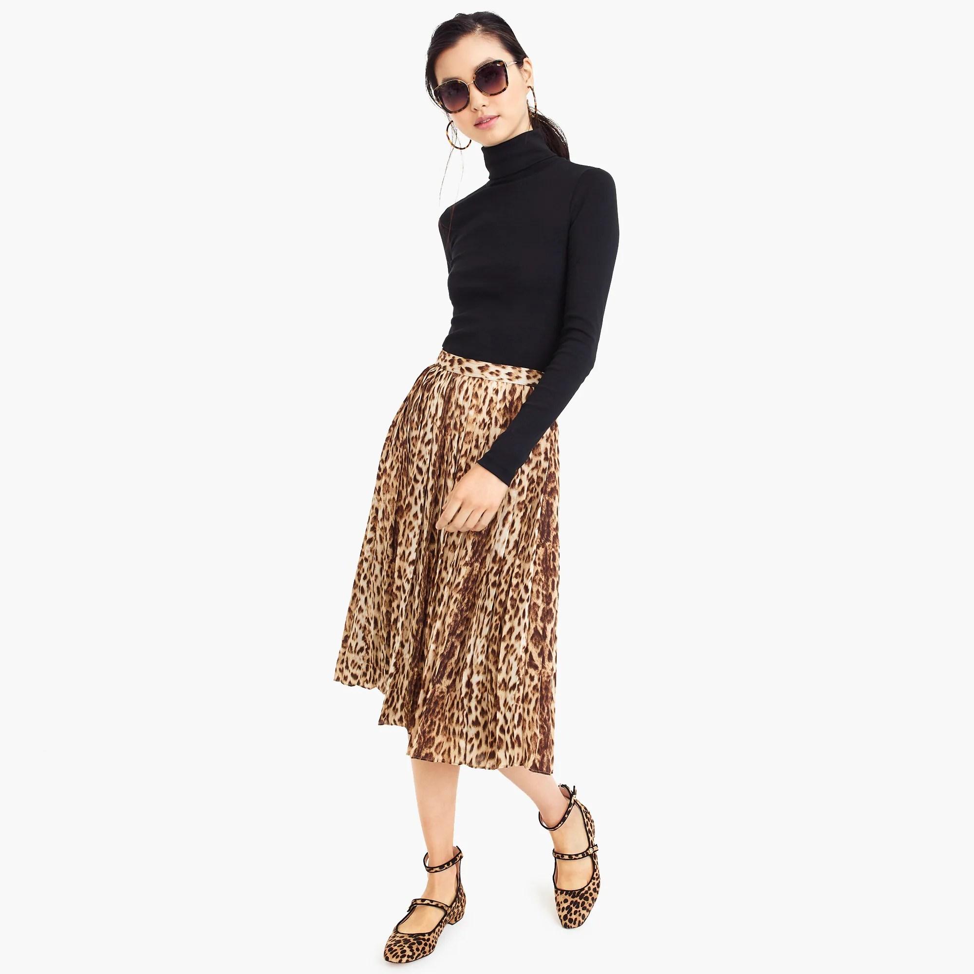 Pleated leopard midi skirt women   skirts also jew rh jcrew
