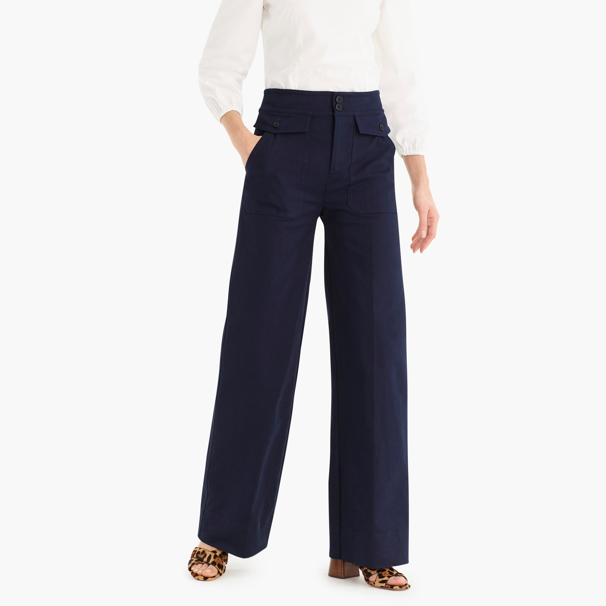 Officer patch pocket wide leg pant in stretch twill also women   clothing dresses athleisure more  crew rh jcrew