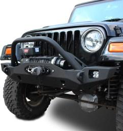 wrangler front bumper crusader mid width jeep tj lj yj cj7 76 06 jcroffroad [ 1024 x 876 Pixel ]