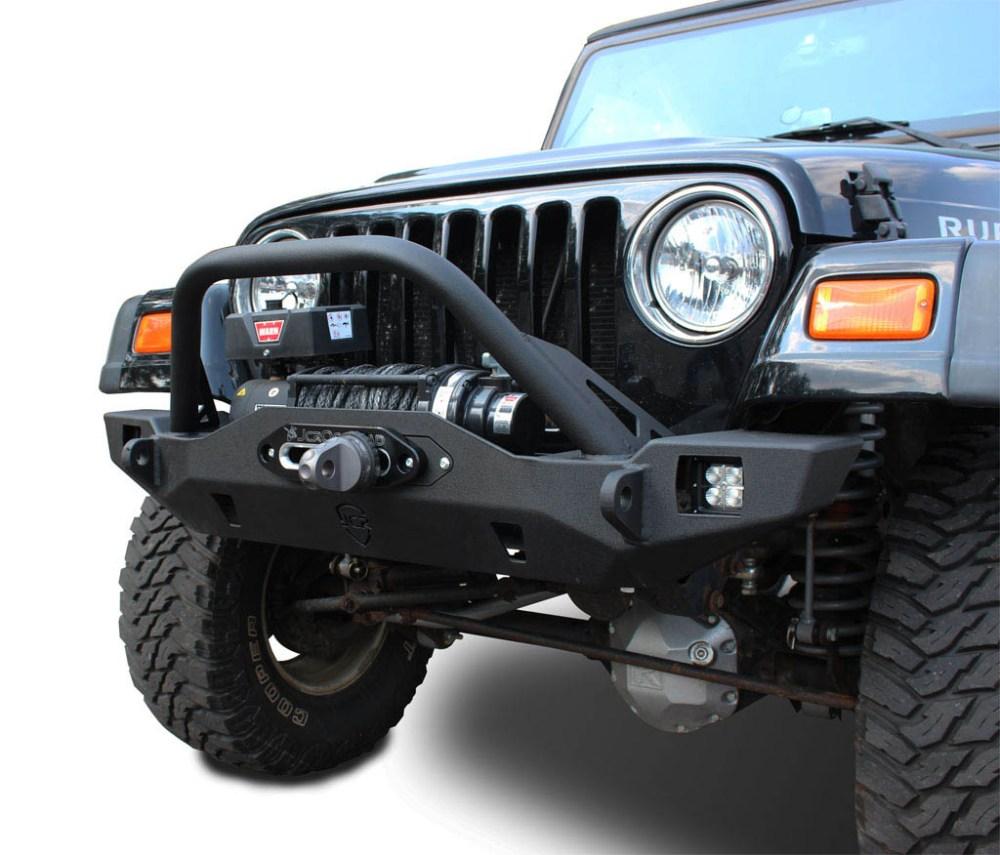 medium resolution of wrangler front bumper crusader mid width jeep tj lj yj cj7 76 06 jcroffroad