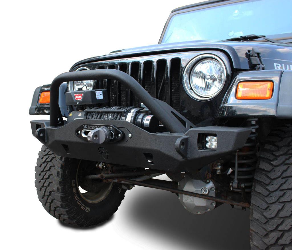 hight resolution of wrangler front bumper crusader mid width jeep tj lj yj cj7 76 06 jcroffroad