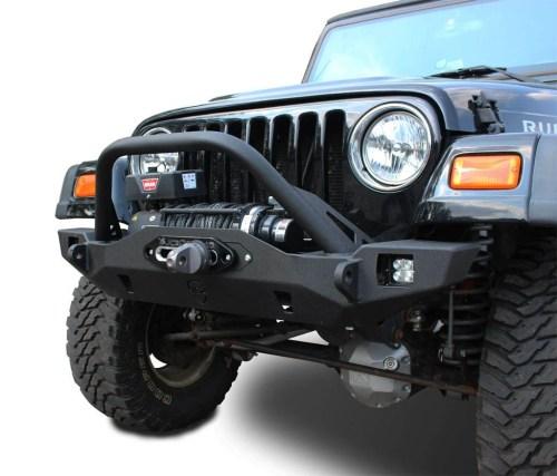 small resolution of wrangler front bumper crusader mid width jeep tj lj yj cj7 76 06 jcroffroad