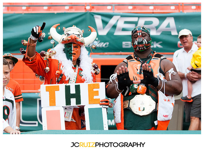 University of Miami fans show their team spirit prior to the game