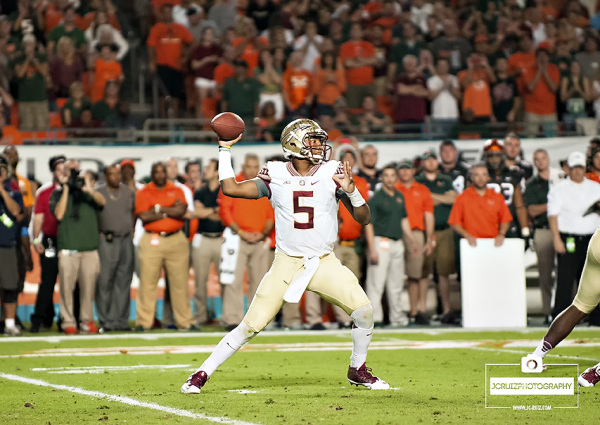 Florida State QB #5 Jameis Winston throws a pass in the first quarter