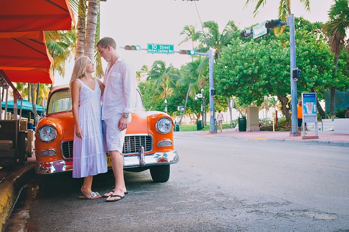 engagement photo shoot on Ocean Drive in South Beach