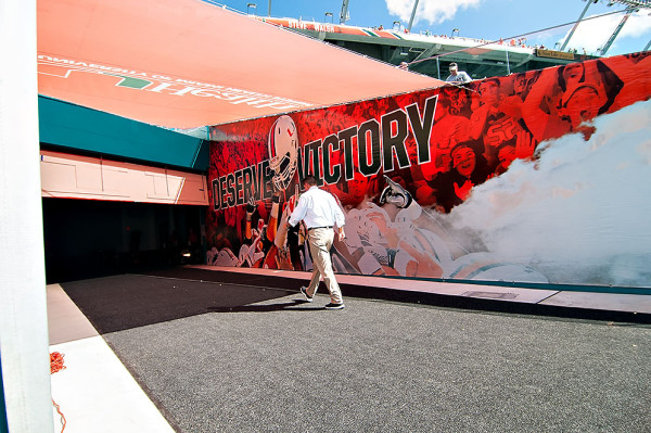 Miami Headcoach, Al Golden, walks back to the lockerroom after warmups