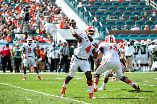 Clemson Tigers QB #4, Deshaun Watson, attempts a pass against Miami