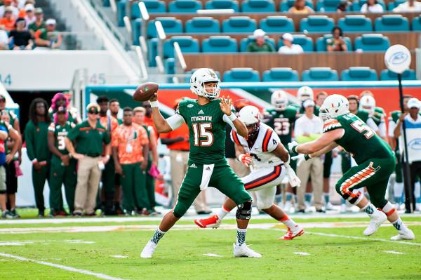 Miami Hurricanes QB #15, Brad Kaaya, throws a pass against Virginia Tech