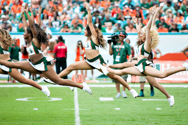 The Hurricanes Sunsations dance team performs their routine