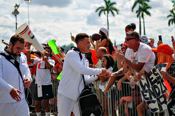 Brad Kaaya greets fans during Hurricanes Walk