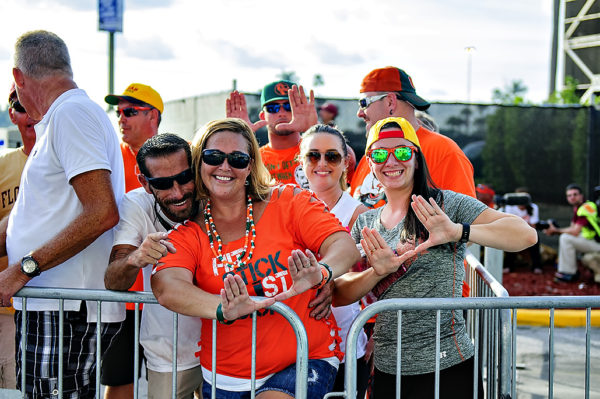 Miami Hurricane fans await the team's arrival