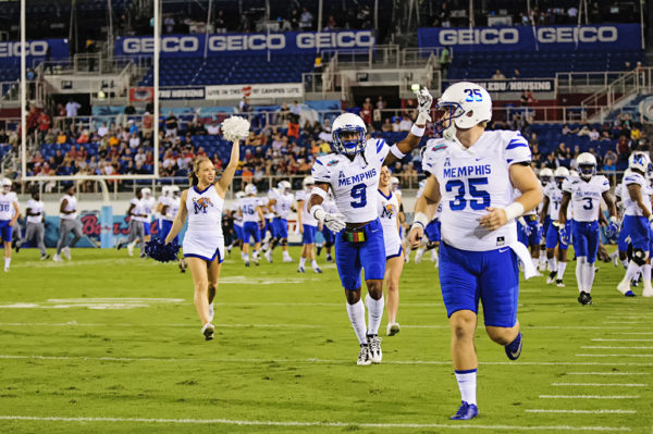 Memphis Tigers run onto the field prior to the game