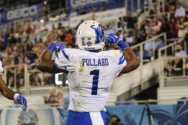 Tony Pollard, Memphis WR, celebrates his touchdown