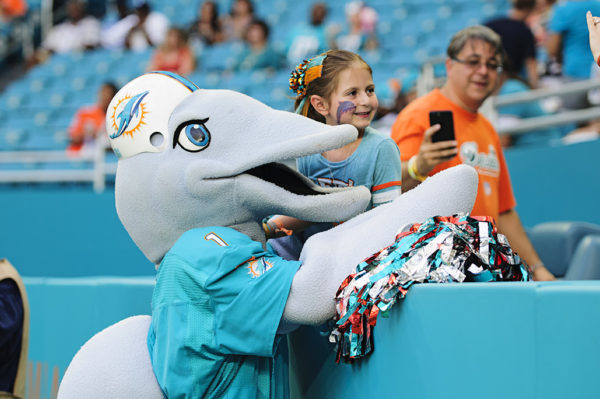 TD, the Dolphins mascot, poses with a fan