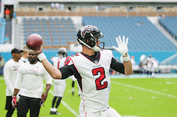 Matt Ryan warms up before the game against the Miami Dolphins