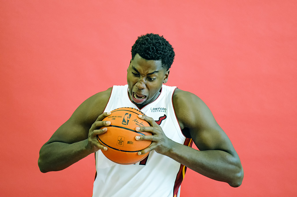 Hassan Whiteside has a little fun with his portait