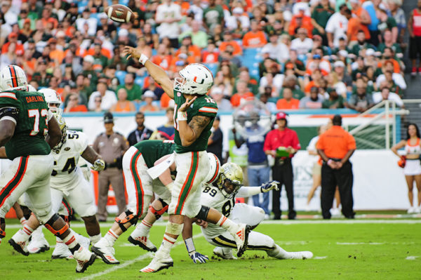 Malik Rosier launches a pass down field