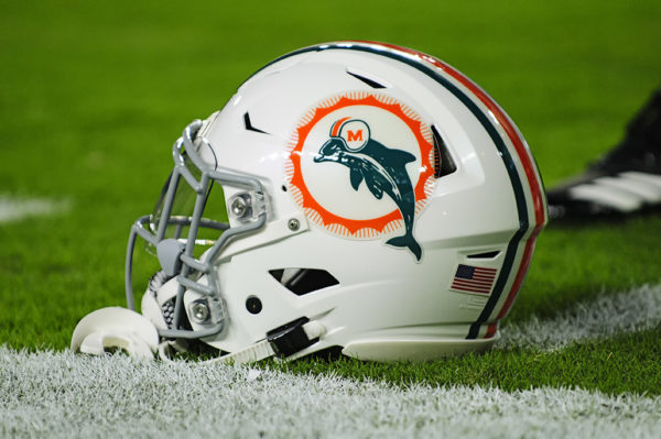The retro Miami Dolphins helmet