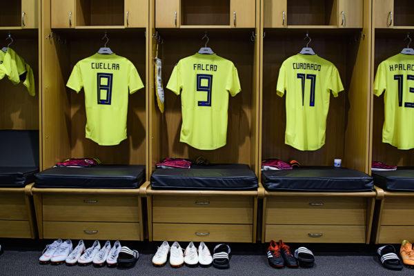 Jerseys hang in the Colombia locker room