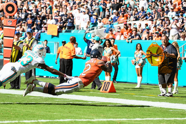 Chicago Bears wide receiver Allen Robinson (12) with the lunging catch